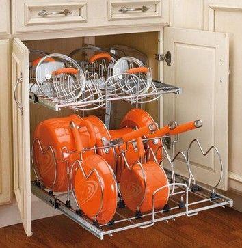 Rev A Shelf Two Tier Cookware Organizer Contemporary Cabinet