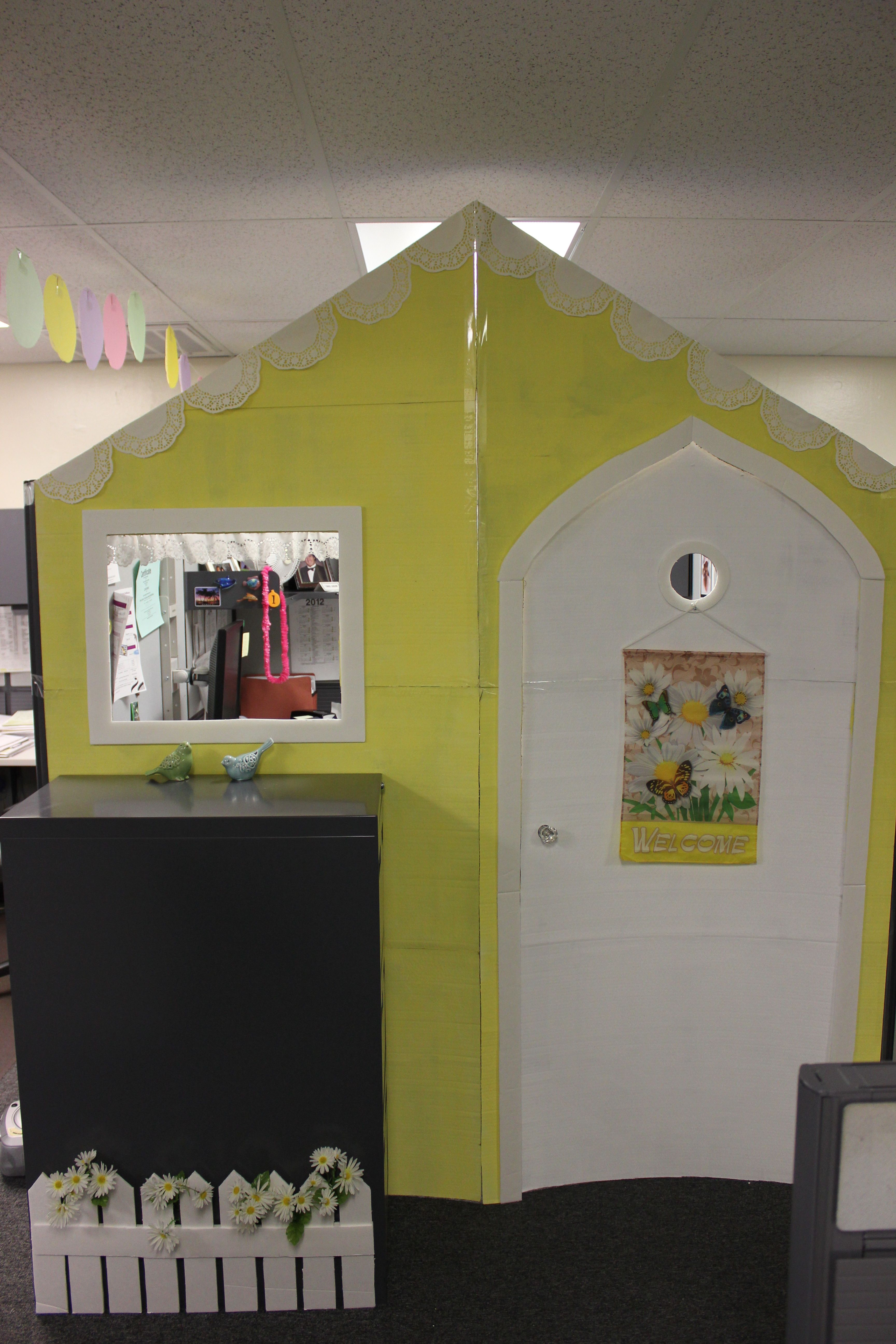 Storybook cottage front for cubicle - made for a unique birthday ...