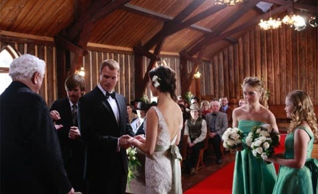 Lou and Peters wedding. Love the dresses! Wedding fans