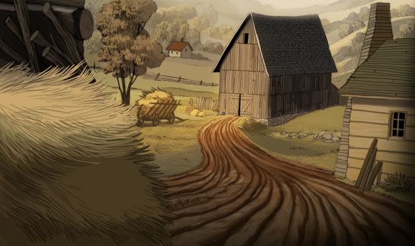 """Gorgeous background art from """"Over the Garden Wall""""."""