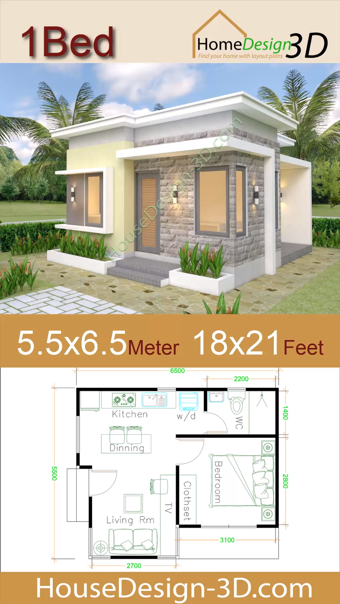 House Design Plans 5 5x6 5 With One Bedroom Flat Roof The House Has Car Parking And Garden Livi Small House Design Plans Small House Design Flat Roof House