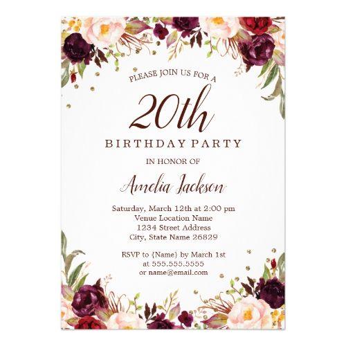 Elegant Gold Burgundy Floral 20th Birthday Party Invitation