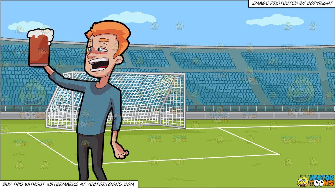 Clipart Cartoon A Tipsy Man Enjoying A Full Mug Of Beer And A Soccer Field With Stadium Seating Background Vendor Vectortoon Type Clipart Price 20 00 S