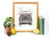 Land Rover Series 3 A4 Print, Classic Car Watercolour Illustration, Vintage Styl…