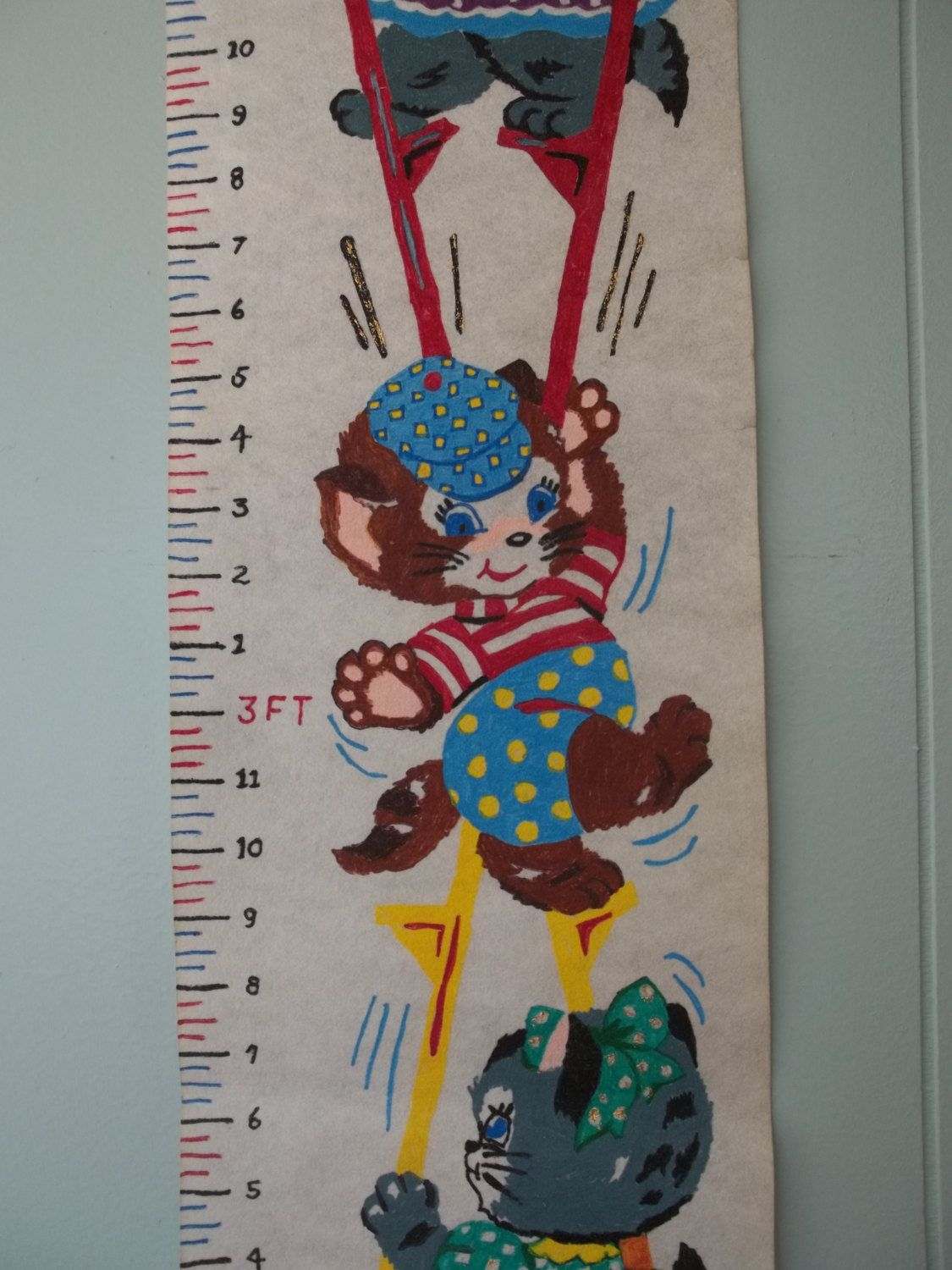 Vintage wall hanging growth chart kitty cat nursery decor vintage wall hanging growth chart kitty cat nursery decor handpainted embroidery paint height nvjuhfo Images
