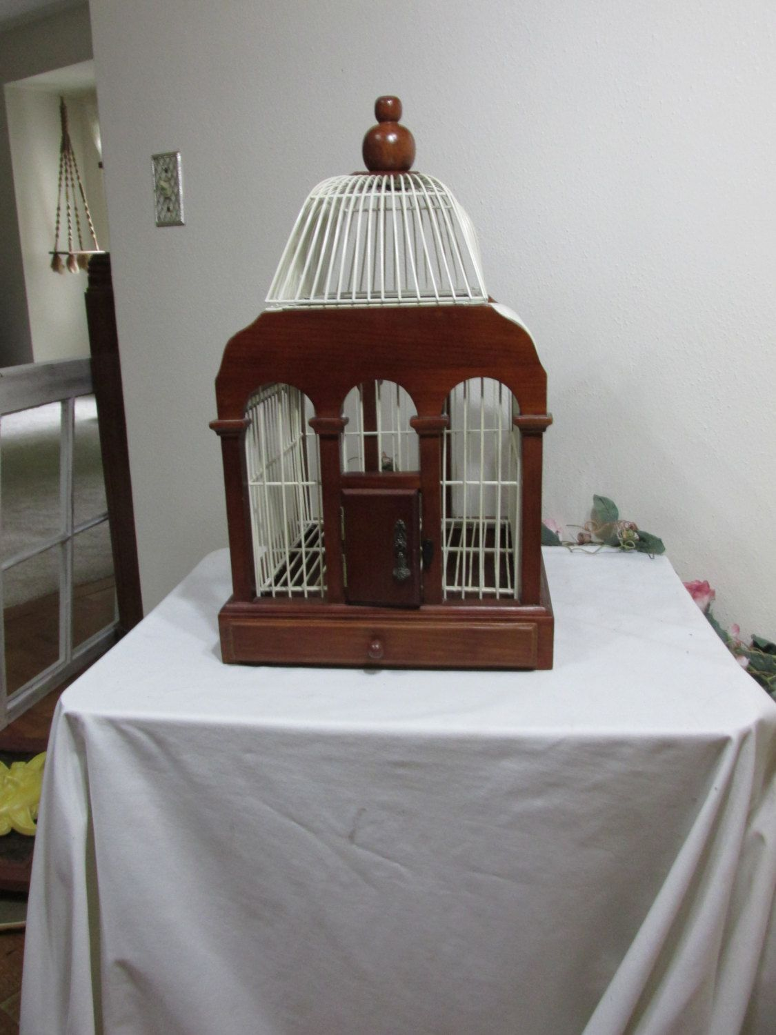 Birdcage Wedding Card Holder Wood And White Wire Home Decor Plant