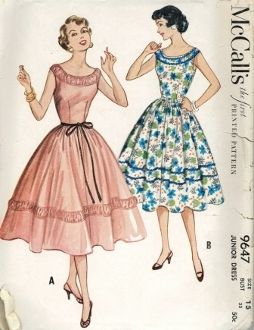 An original ca. 1953 McCall's Pattern 9647.  One-piece dress with bateau neckline accented with a circular banded yoke that forms straps/caps of sleeveless bodice.  Bodice is dart fitted at waistline and skirt is a fully flared 4-gore design gathered at waist.  A second accent band decorates lower half of skirt to match neckline.