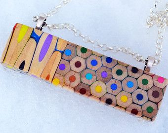 Colored pencils necklace - rectangle