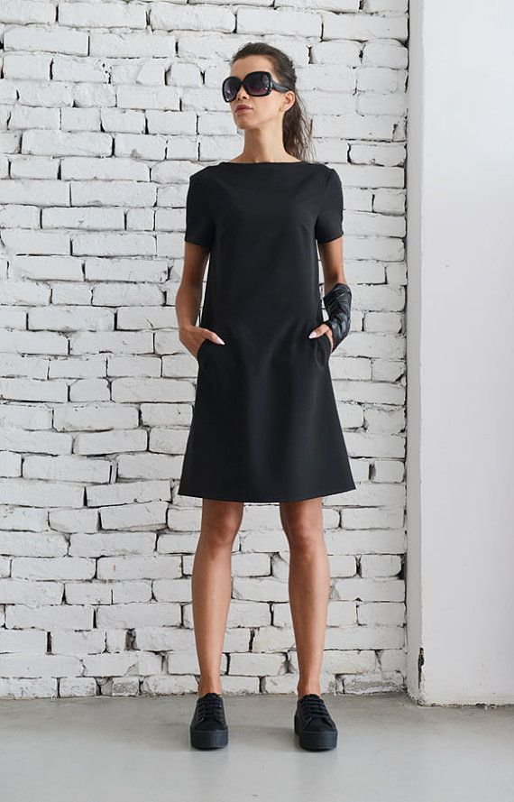 NEW Black Casual Dress/Little Black Dress/Midi by Metamorphoza