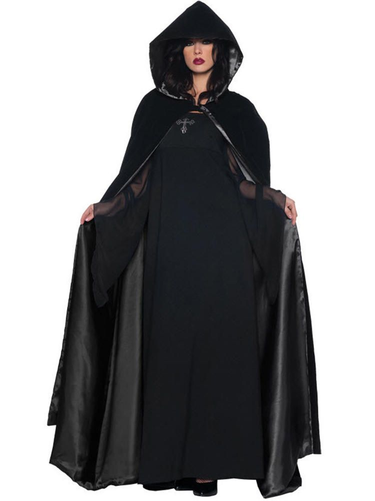 Hooded Devil Cloak Cape Robe Halloween Cosplay Medieval Witchcraft Witch Devil