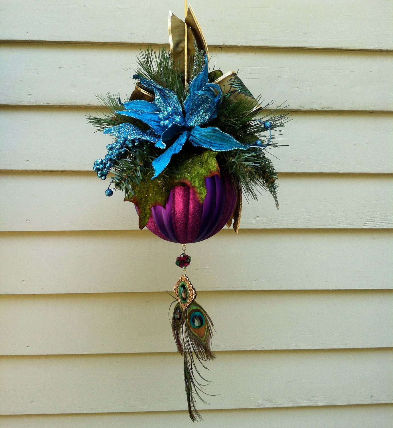 Christmas Ornament, Purple Striped Ball, Peacock Feather Bow, Large Glittered
