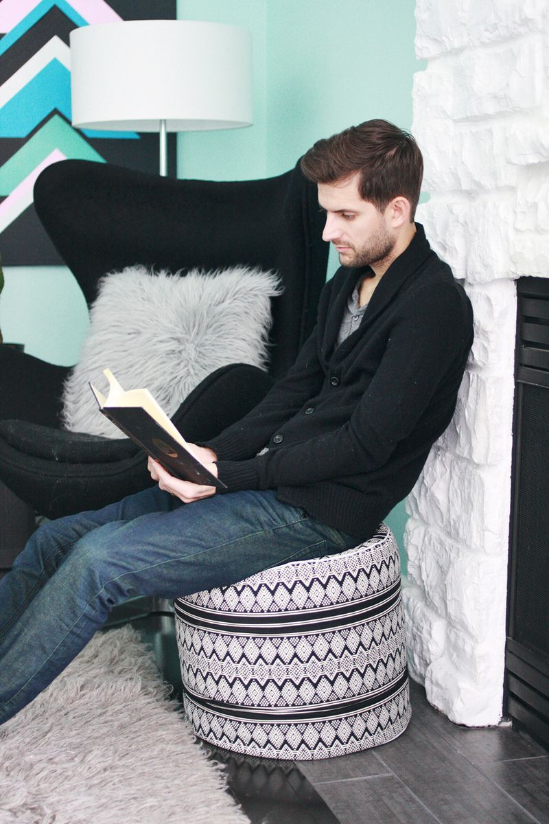 Drum Floor Pouf DIY | Diy pouf, Floor pouf, Diy