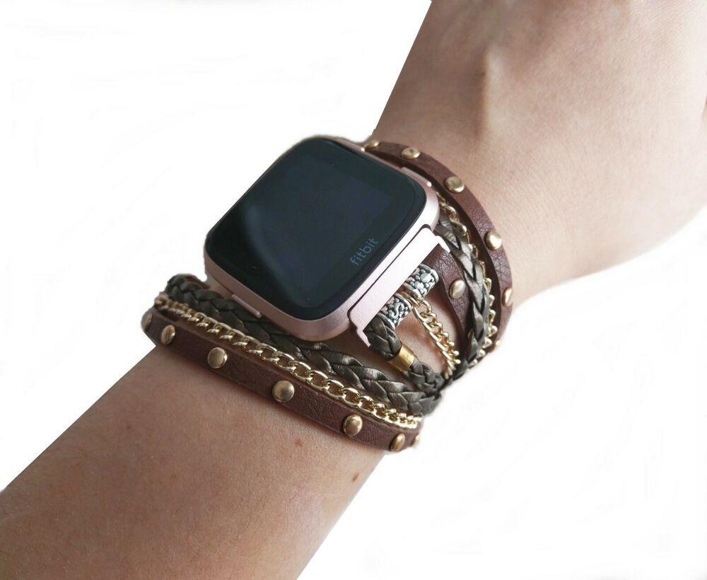 Fashion Fitbit Versa Band Leather Wrap Braided Versa Strap