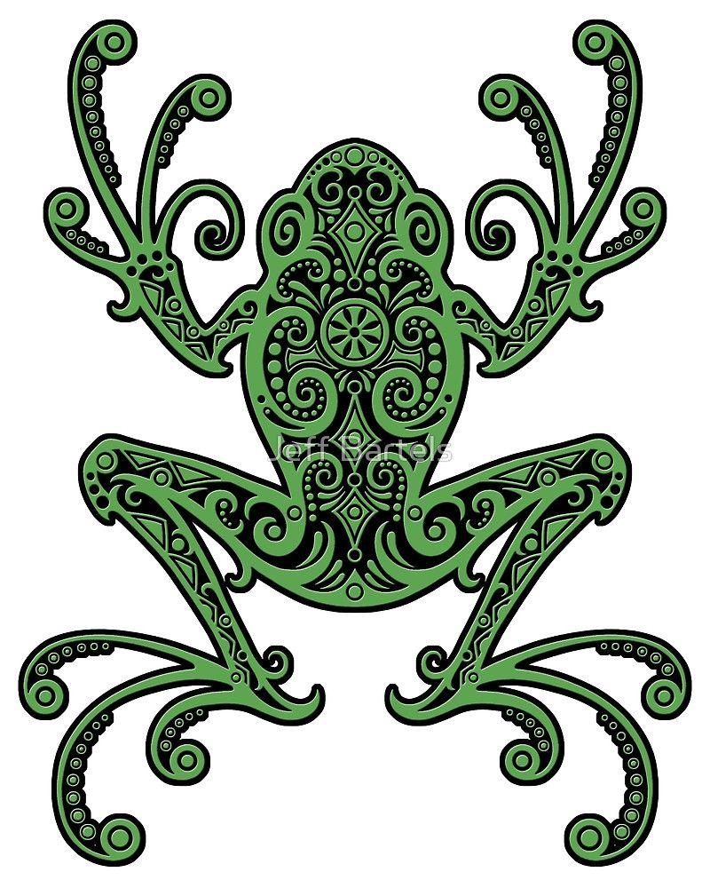 Intricate Green and Black Tree Frog | Tattoo | Pinterest | Black tree