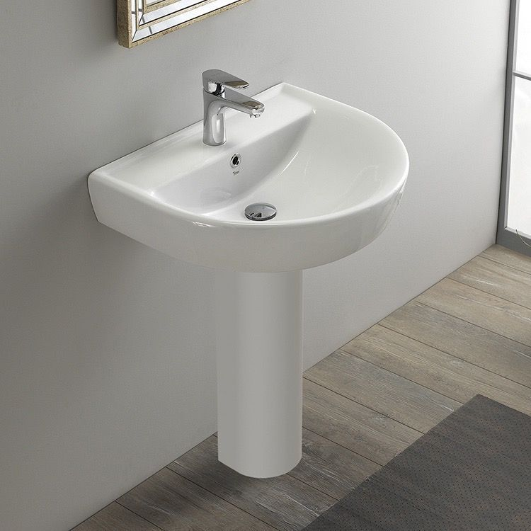 Round White Ceramic Pedestal Sink With Images Modern Pedestal