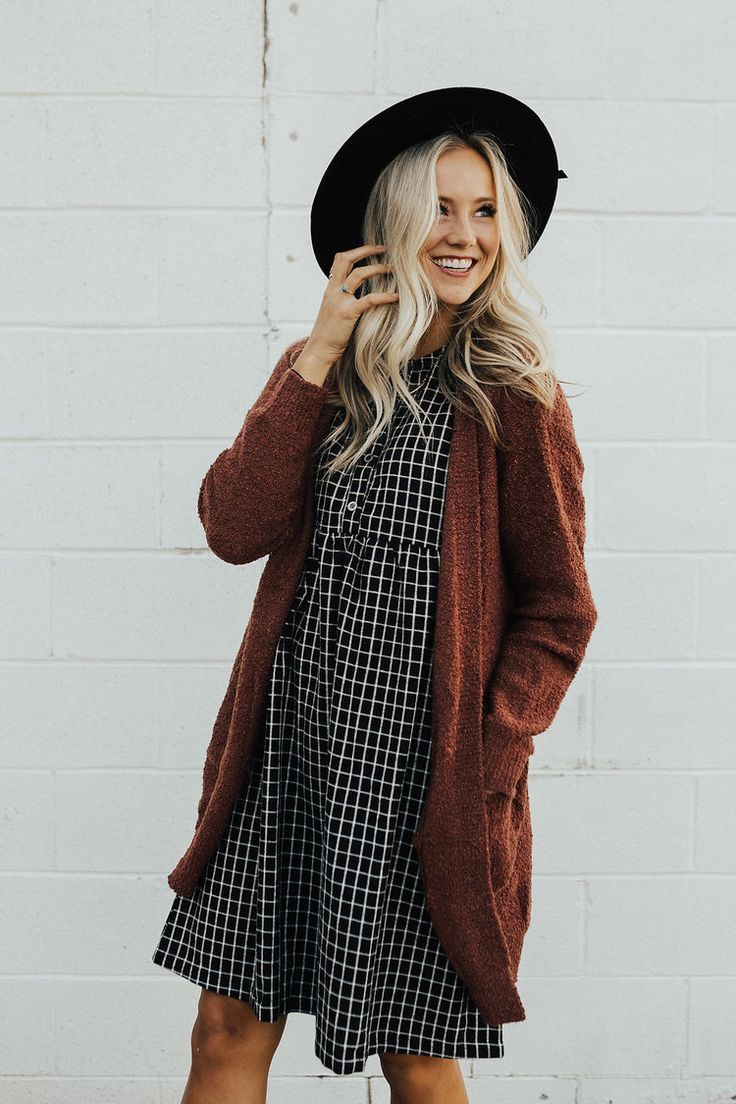 Bartlette Woven Cardigan in Rust | Plaid dress, Plaid and Brown