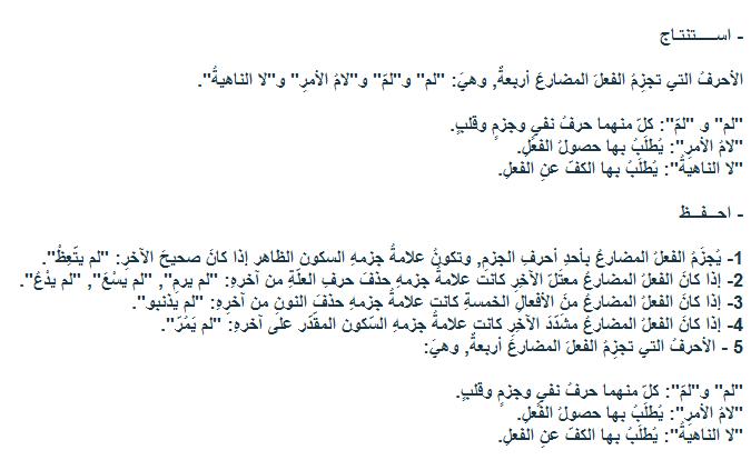 اعراب الفعل المضارع المجزوم Grammar Arabic