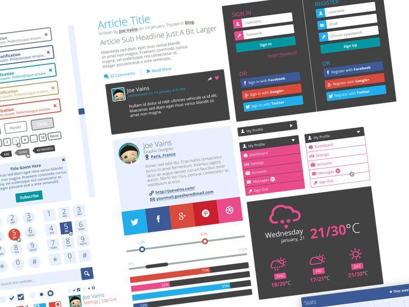 10 Archivos PSD de Elementos para diseño de interfaces   recursos disenos plantillas photoshop web 3