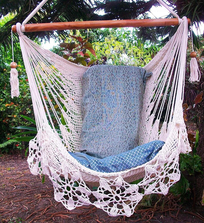 Amazoncom Hammock Chair Flower Crochet Hanmade Cotton Beige Indoor Outdoor