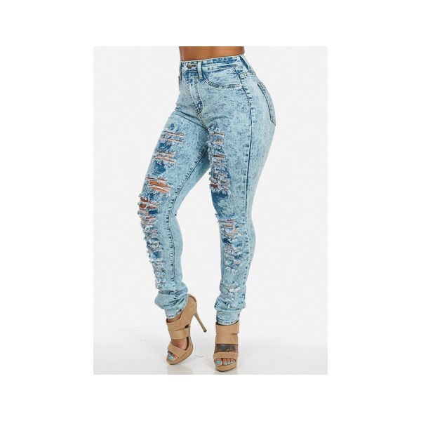 High Waisted Jeans ❤ liked on Polyvore featuring jeans, blue high waisted jeans, highwaist jeans, high-waisted jeans, blue jeans and high rise jeans