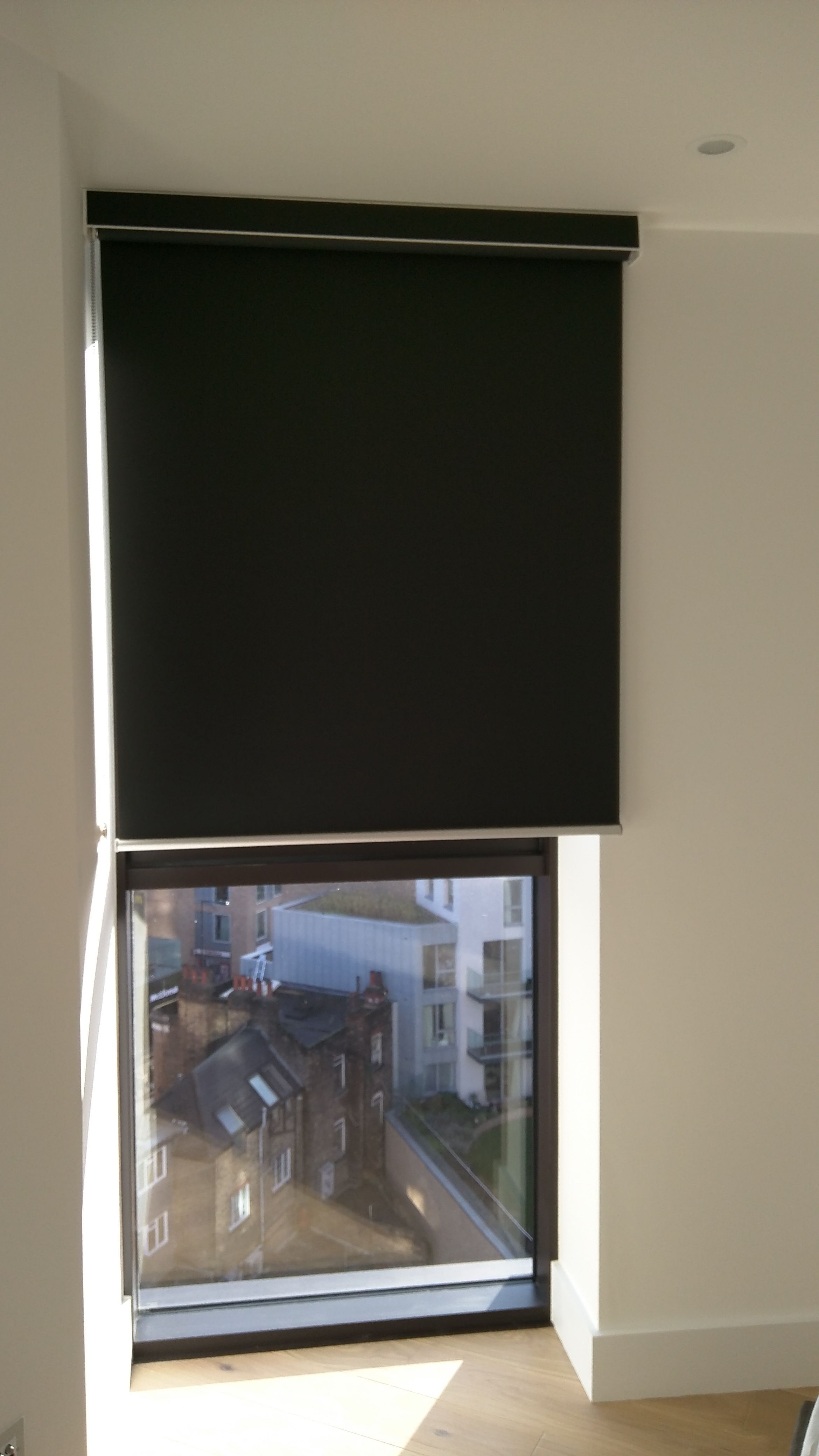 Blackout Roller Blind With Matching Pelmet Fitted Outside The Recess Window Bedroom Blind Dalston M Wooden Window Blinds Vertical Blinds Diy House Blinds