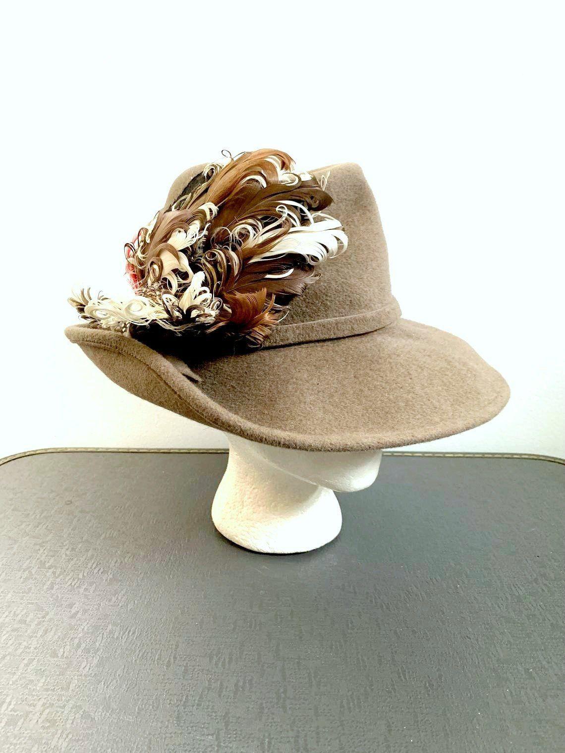 Taupe Felt Fur Feathered Fedora / I J  Herman's NYC Custom