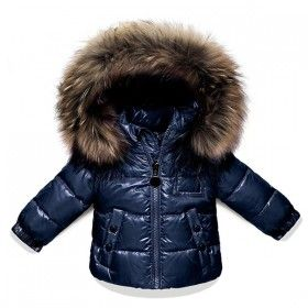 7802c19e8 Moncler Boys  And Girls  Shiny Fur Trim Navy Down Jacket