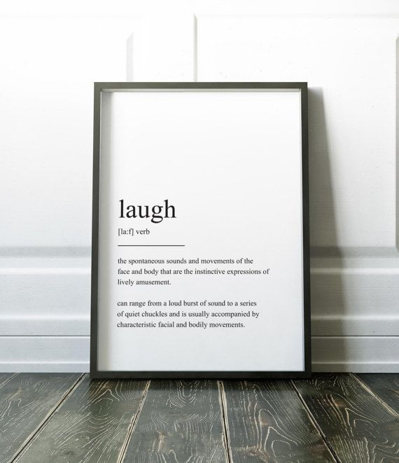 Laugh Definition Print Wall Art Prints Quote Print Wall