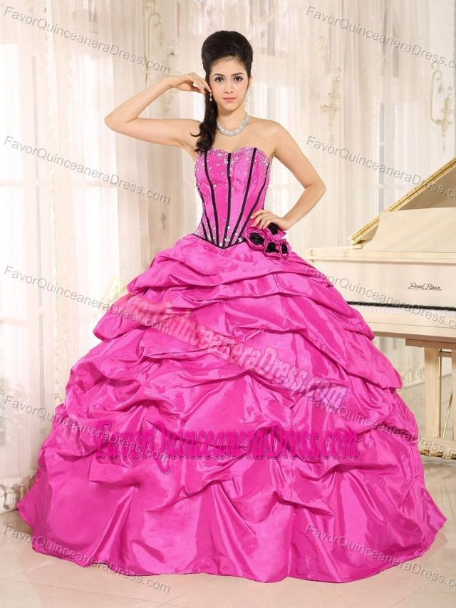 8e2953641e5 New Hot Pink Beaded Floor-length Quinceanera Dress with Pick-ups on Sale