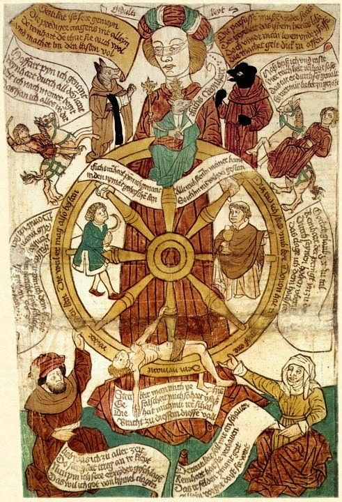 wonderful late 15C German woodcut print of a Reynard as both Pope and Antichrist on the Wheel of Fortune. [Schreiber 1959]. 526x360mm. from Codex 3301 (f.309) in the National Library of Austria in Vienna.