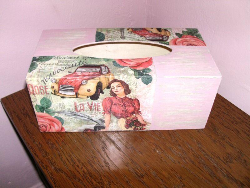 boite a mouchoirs en bois vintage paris decorative accessoires de maison par idees cadeaux d ameline