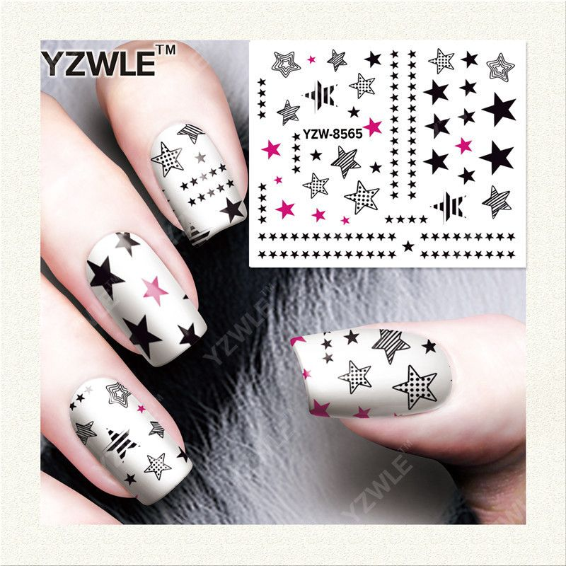 7 Ink Water Transfer Stickers For Nail Art Color Stars Element