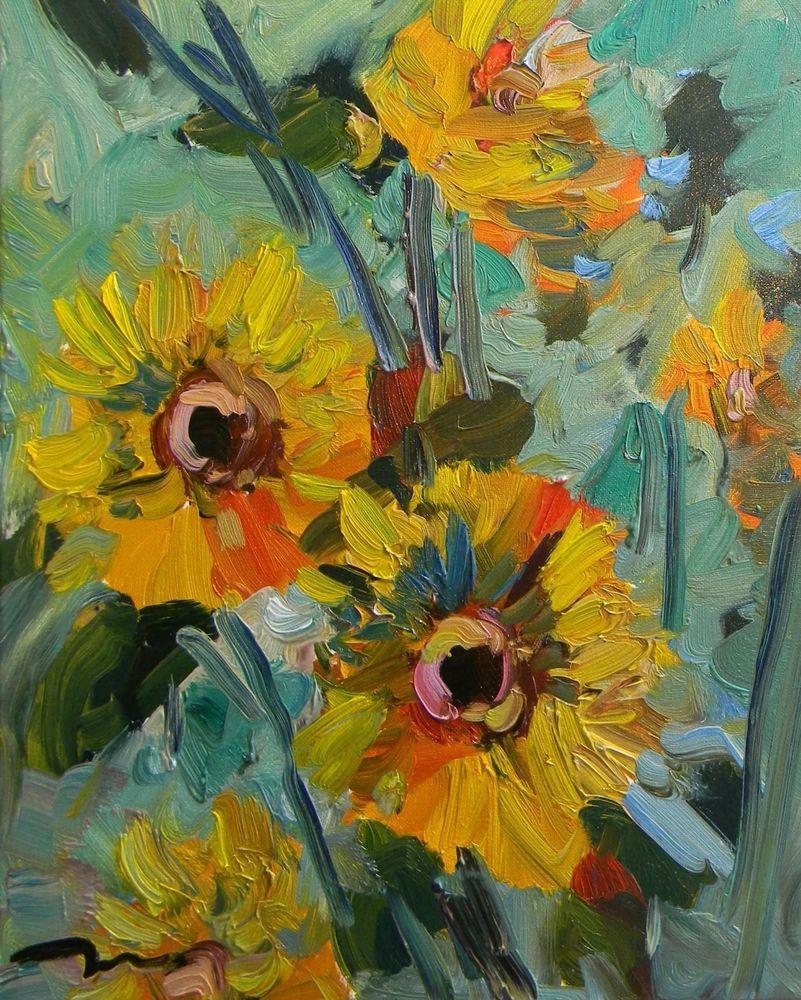 Jose trujillo artist oil painting 16x20 sunflowers floral
