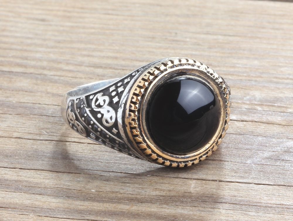 Stunning Dragon Statement Ring In solid 925 Sterling Silver With Natural Onyx