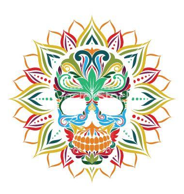Skull and sun flower vector by gurita_hitam on VectorStock®