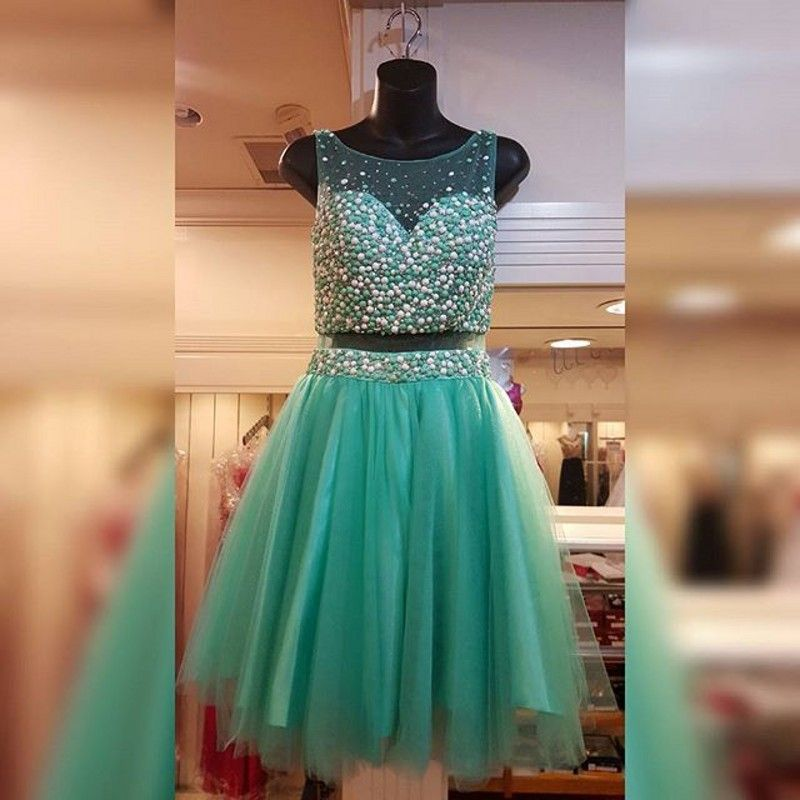 2 Piece Emerald Green 8th Grade Homecoming Prom Dresses Sheer Scoop