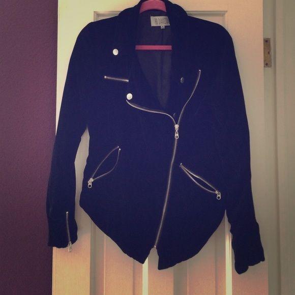 BB Dakota jacket Black velvet BB Dakota Moto jacket. Zipper details, small tear at seam on right sleeve BB Dakota Jackets & Coats