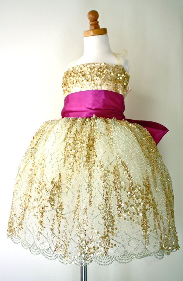 Fall in love with fuchsia gold pinterest navy ribbon flower gold magenta flower girl dress if this was silver or pink instead of gold and had a navy ribbon mightylinksfo