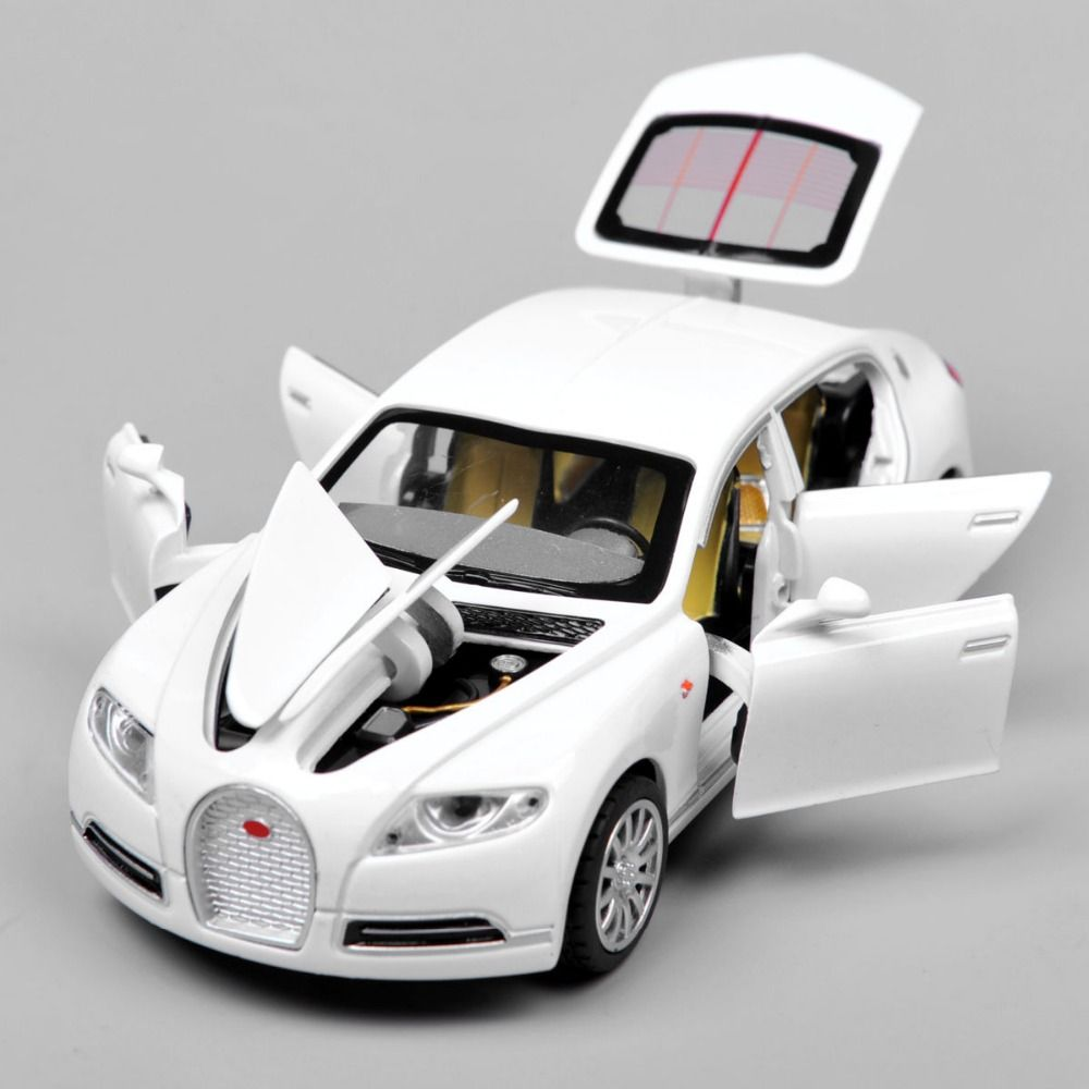 Collectible Alloy Diecast White Car Model Bugatti Veyron Galibier  W/lightu0026sound Pull Back Cars Model Kids Toys Gifts E