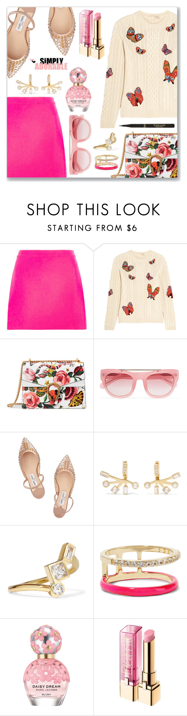 """""""Something that came to mind... Good night :*"""" by dressedbyrose ❤ liked on Polyvore featuring Versace, Valentino, Gucci, Erdem, Jimmy Choo, Elizabeth and James, Marc Jacobs, L'Oréal Paris and polyvoreeditorial"""