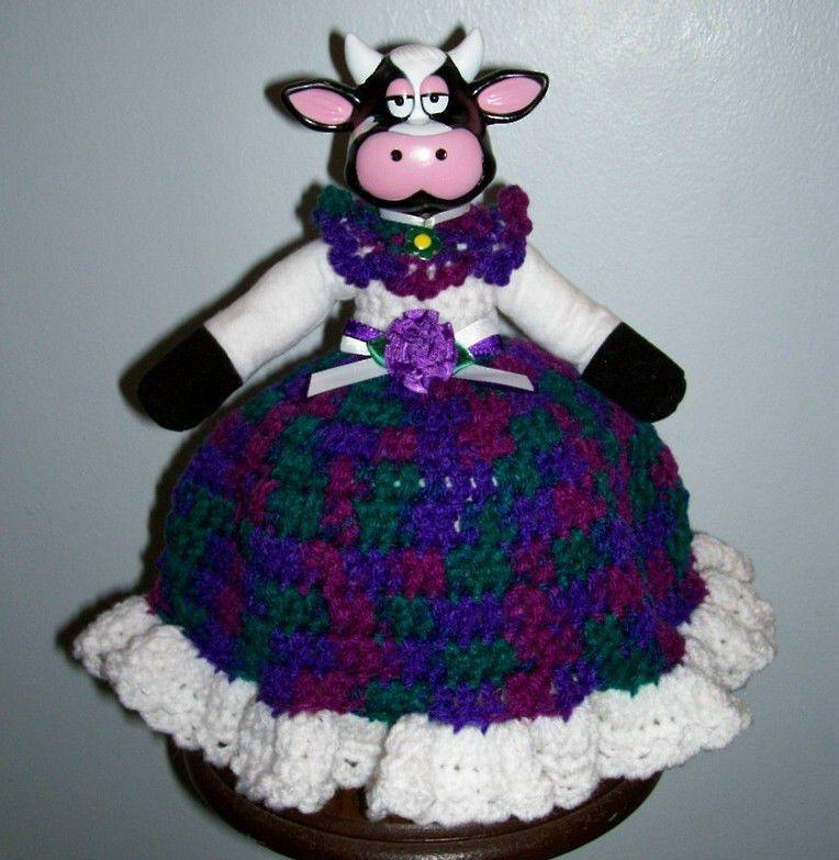 COW AIR FRESHENER TP COVER DOLL, Crochet, GEMSTONE WITH WHITE TRIM, New #airfreshnerdolls