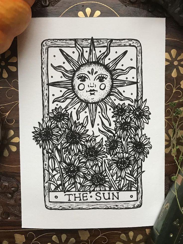 The Sun Tarot Card Art Print | Etsy