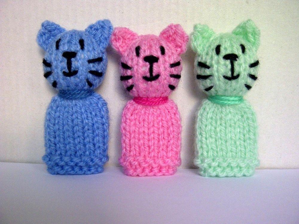 3 Little Cats / Kittens - Hand Knitted Finger Puppet Toys / Animals ...
