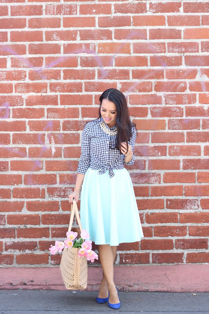 StylishPetite.com | Banana Republic Petite Gingham Shirt Mint Midi ...