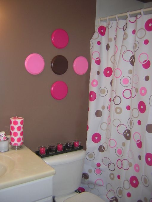 Pink and brown bathroom oooh girly yet modern i like for Girly bathroom accessories