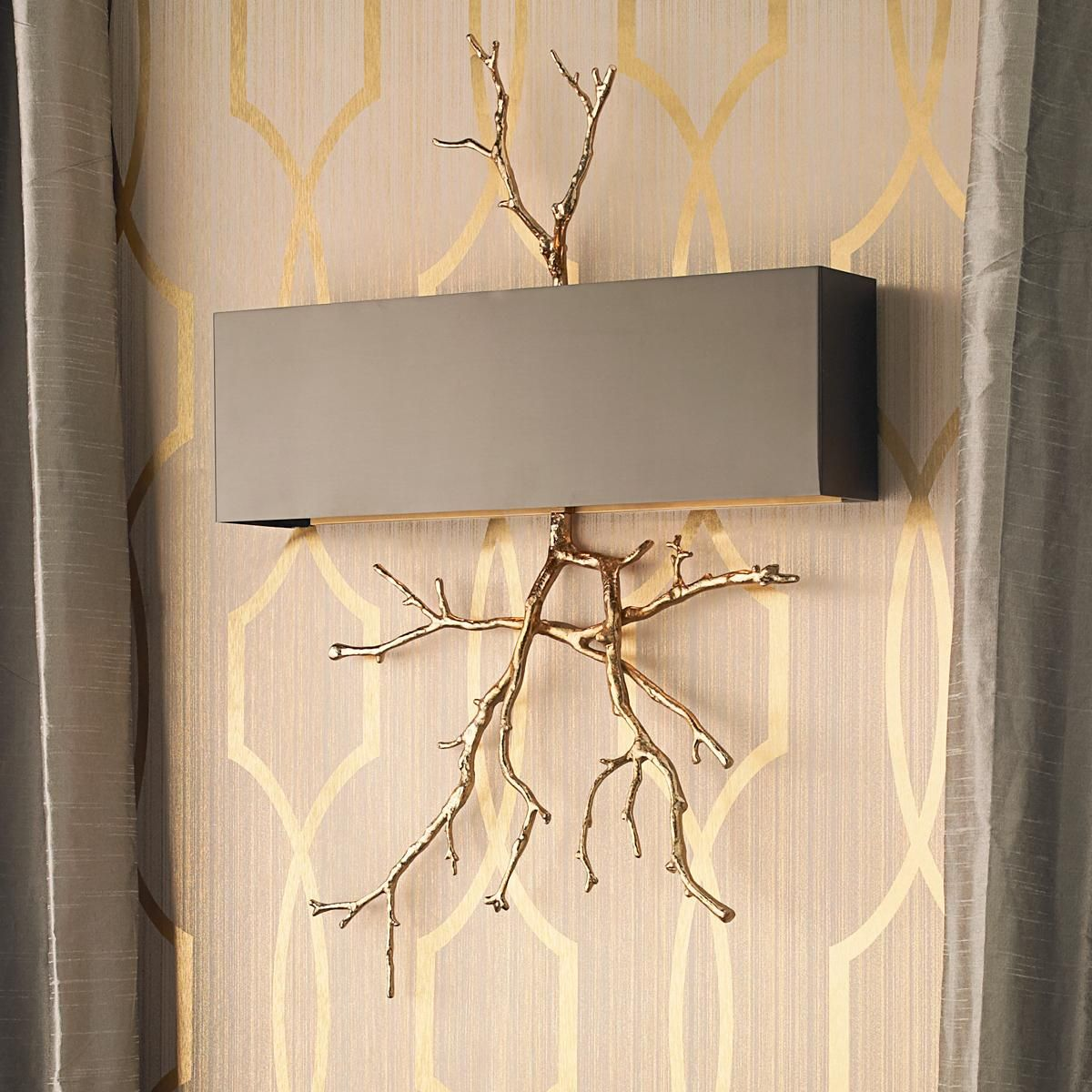 Sculptural twig wall sconce a sculptural branch in golden brass sculptural twig wall sconce a sculptural branch in golden brass with a rich bronze metal shade amipublicfo Image collections