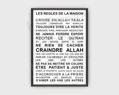 Poster les r gles de la maison islam deco islam and for Decoration maison islam
