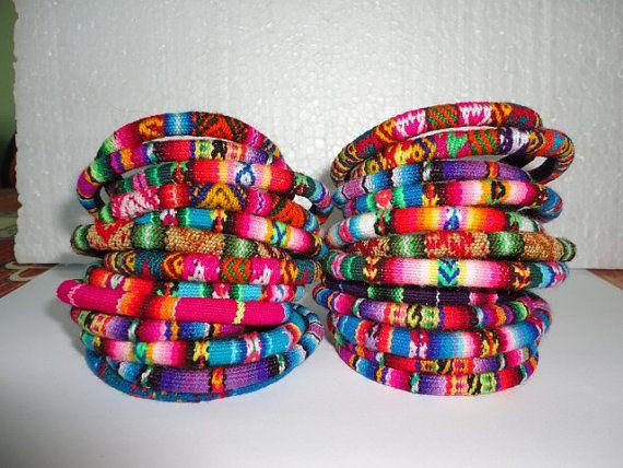 Peruvian Manta Fabric Cuff Bracelet Bangle Friendship Bracelet Handmade Ethnic Art Peru