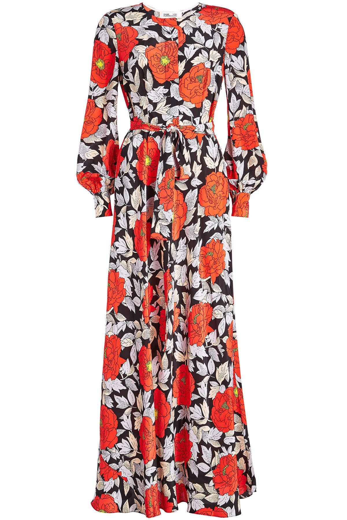 32b47f14e6c2 Diane von Furstenberg Waist Tie Printed Silk Maxi Dress   Dresses in ...