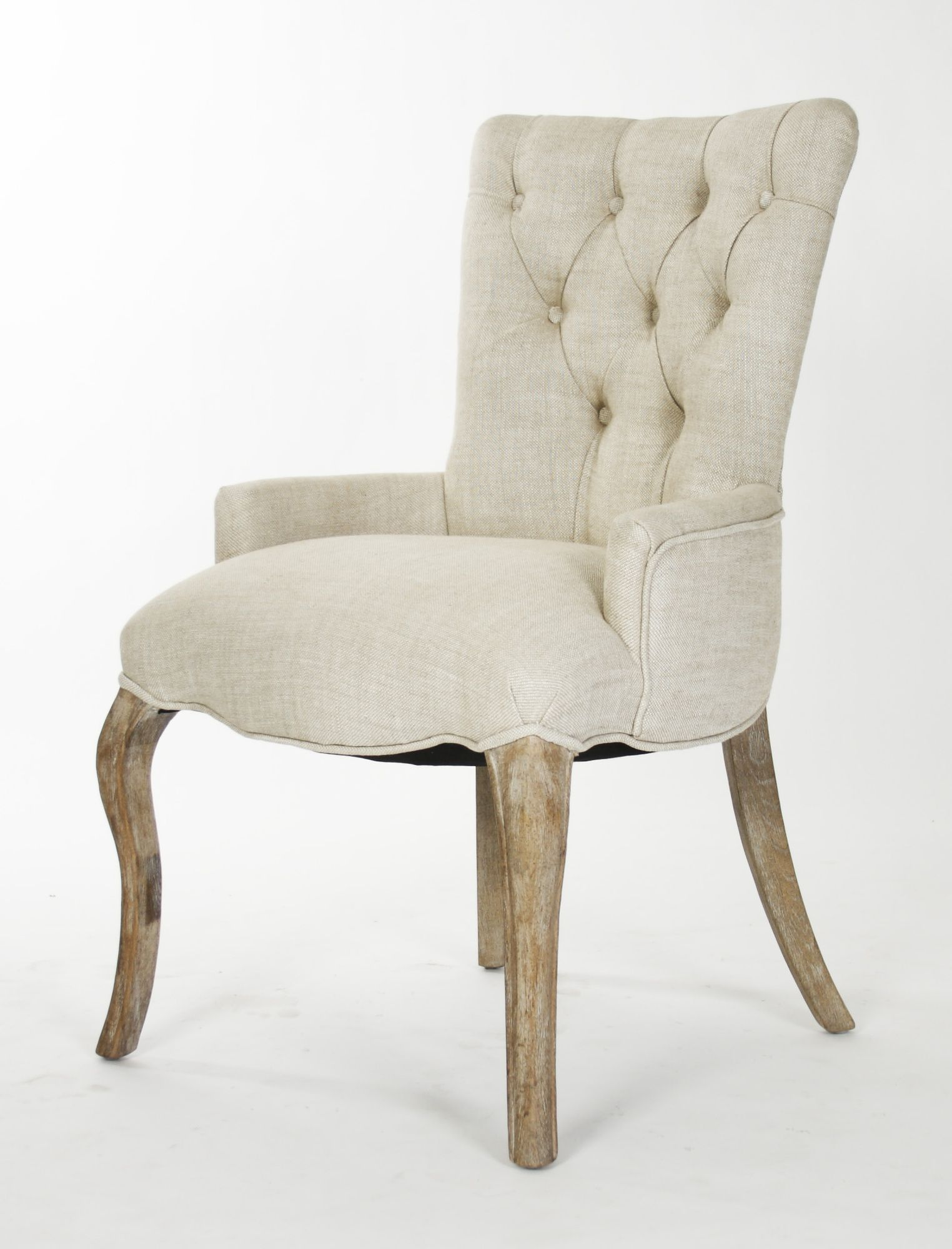 Zentique Inc Iris Cream Natural Linen Tufted Chair in Reclaimed